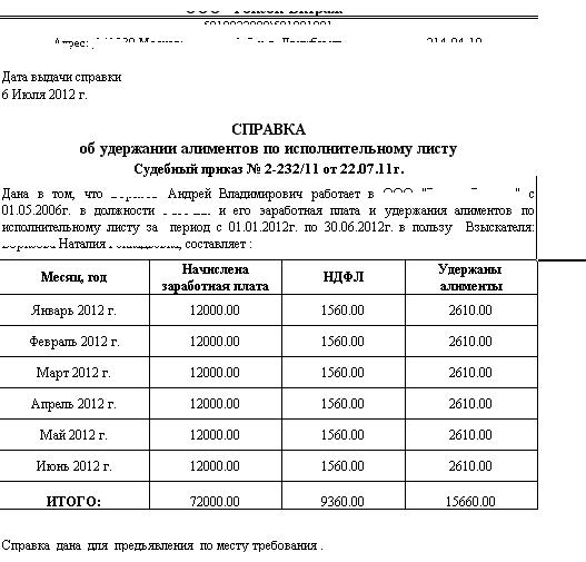 Отчет по алиментам в службу судебных приставов и приложение к исполнительному листу