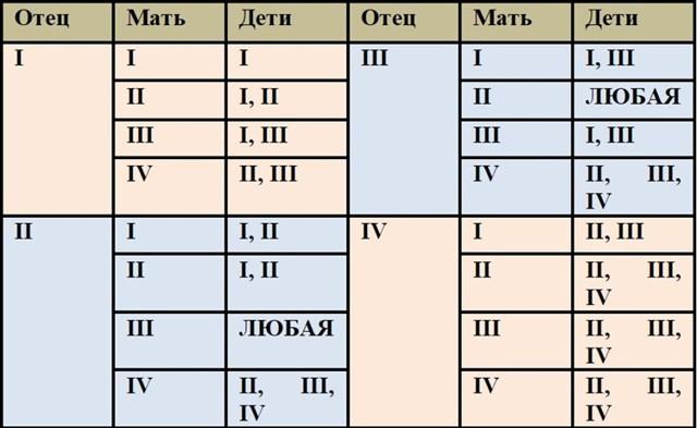 Как определить отцовство по группе крови: таблица наследования