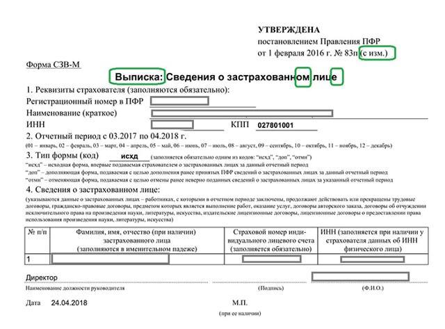 Выписка из СЗВ-М при увольнении: образец заполнения 2020 года